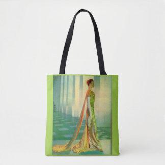 Bolsa Tote senhora bonita dos anos 60 no vestido de noite