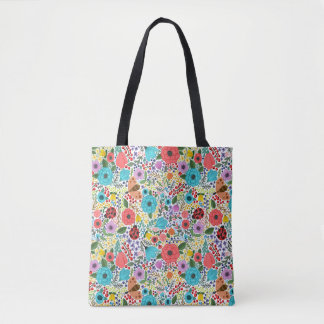 Bolsa Tote Senhora Insetos e flores