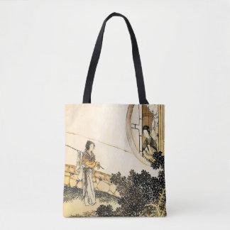 Bolsa Tote Senhora japonesa no impressão do vintage da janela