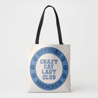 Bolsa Tote Senhora louca Clube Logotipo Tecido Saco do gato