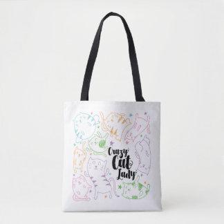 Bolsa Tote Senhora louca Colorido Desenhos animados Teste