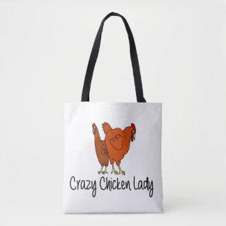 Bolsa Tote Senhora louca da galinha, Hopped acima em galinhas