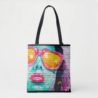 Bolsa Tote Senhora na sacola cor-de-rosa dos grafites da arte