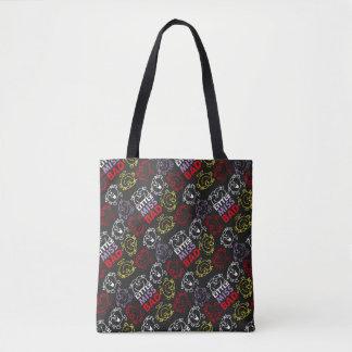 Bolsa Tote Senhorita pequena Mau teste padrão preto, vermelho