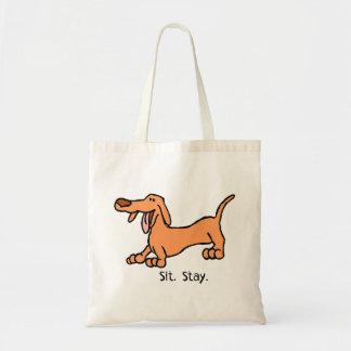 Bolsa Tote Sente o saco do cão do Dachshund dos desenhos