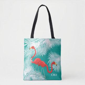 Bolsa Tote Serapilheira da cerceta com flamingos cor-de-rosa