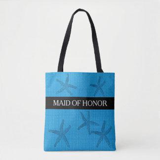 Bolsa Tote Serapilheira do azul de oceano da madrinha de