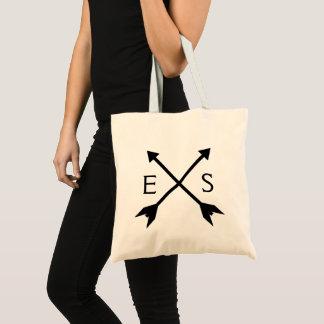 Bolsa Tote Setas pretas cruzadas > saco inicial feito sob
