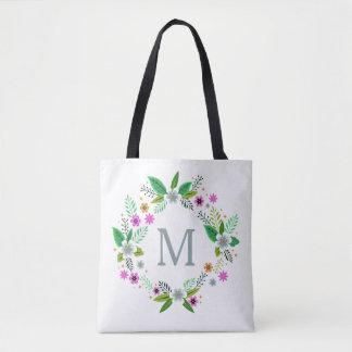 Bolsa Tote Seu monograma em um costume do quadro da flor