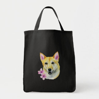 Bolsa Tote Shiba Inu com pintura da aguarela de Sakura