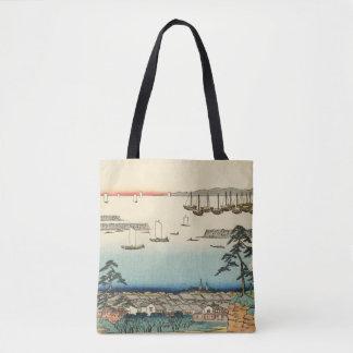 Bolsa Tote Shinagawa, Japão: Impressão de Woodblock do