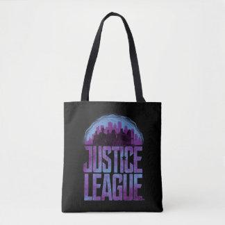 Bolsa Tote Silhueta da cidade da liga de justiça da liga de