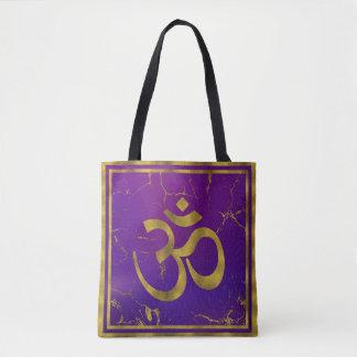 Bolsa Tote Símbolo de OM do ouro - Aum, Omkara no roxo/índigo
