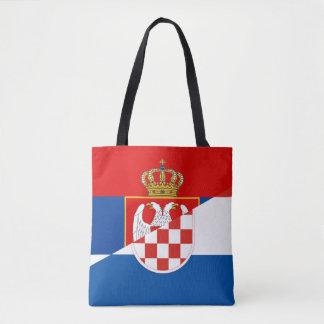 Bolsa Tote símbolo do país da bandeira de serbia croatia meio