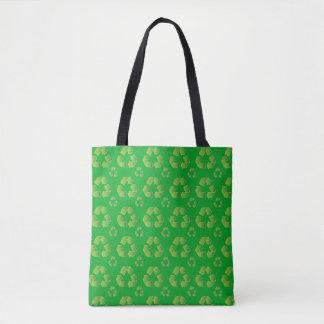Bolsa Tote Símbolo do reciclar isolado no fundo verde
