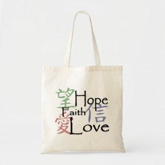 Bolsa Tote Símbolos chineses para o amor, a esperança e a fé