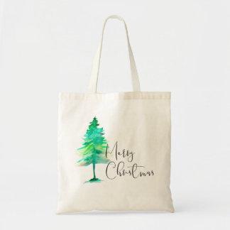 Bolsa Tote Simples, pinheiro do Natal da aguarela