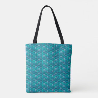 Bolsa Tote Skull pattern in blue and turquoise colors