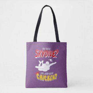 Bolsa Tote Skydive ou galinha? (branco)