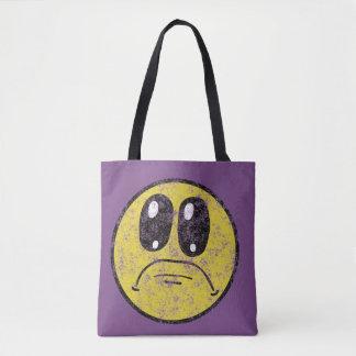 Bolsa Tote Smiley face triste do vintage por todo o lado na
