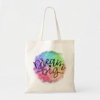 Bolsa Tote Sonho do arco-íris da aguarela da galáxia do falso