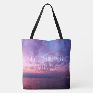 """Bolsa Tote """"Sonho fá-lo"""" foto cor-de-rosa roxa do por do sol"""