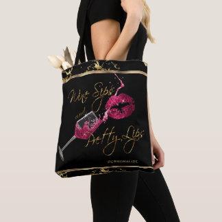 Bolsa Tote Sorvos do vinho e lábios cor-de-rosa bonito -