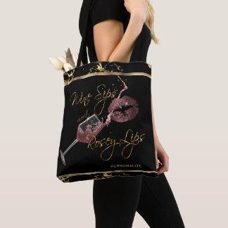 Bolsa Tote Sorvos do vinho e lábios de Rosey - mármore