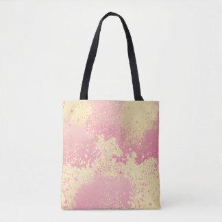 Bolsa Tote Splatter cor-de-rosa e amarelo da pintura
