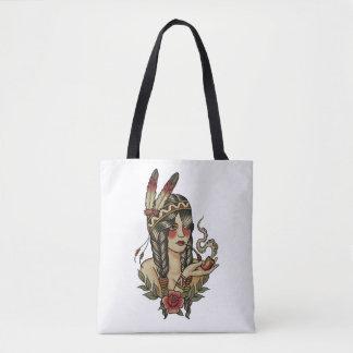 Bolsa Tote squaw do nativo americano que fuma uma tubulação