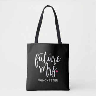 Bolsa Tote Sra. futura (seu nome) roteiro branco