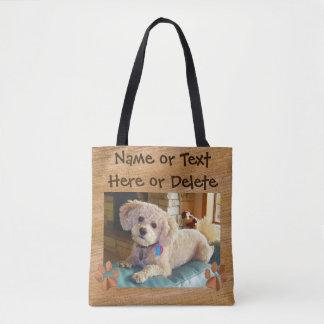 Bolsa Tote Suas sacolas da foto do texto e do cão