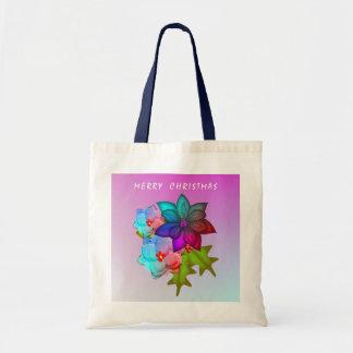 Bolsa Tote Succulent colorido do Feliz Natal floral
