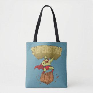 Bolsa Tote Super-herói amarelo da estrela da estrela mundial