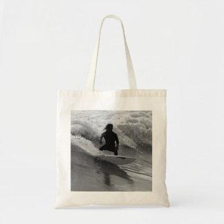 Bolsa Tote Surfando o Grayscale das ondas
