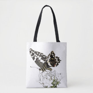 Bolsa Tote Swallowtail empoleirou-se no branco