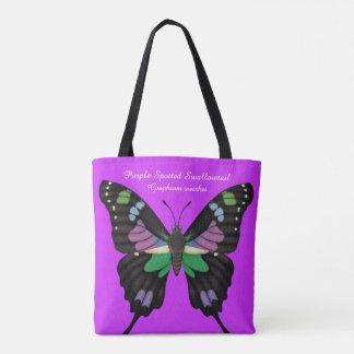 Bolsa Tote Swallowtail manchado roxo dorsal e Ventral