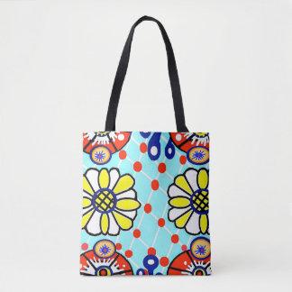 Bolsa Tote Talavera por todo o lado em flores do saco de