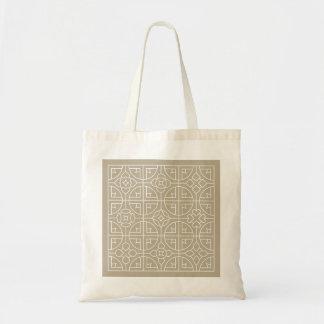 Bolsa Tote Tan e branco da sacola de Buget do francês