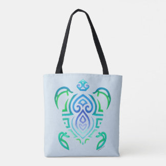 Bolsa Tote Tartaruga tribal na luz - azul