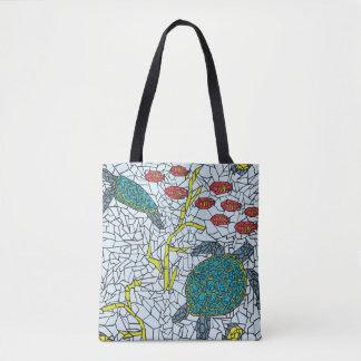 Bolsa Tote Tartarugas de mar do mosaico e sacola tropical dos