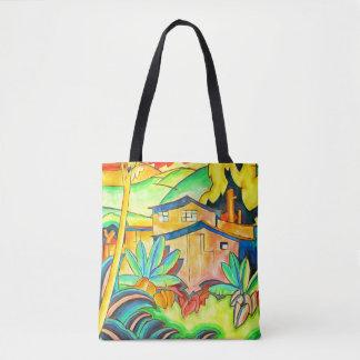 Bolsa Tote Tema corajoso da ilha em cores tropicais