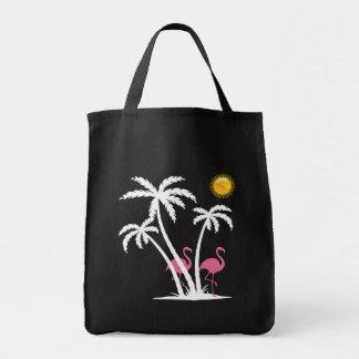 Bolsa Tote Tema do flamingo da praia da forma