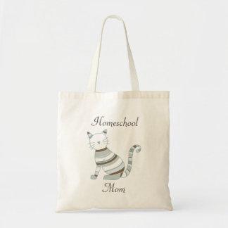 Bolsa Tote Tema do gato para mães de Homeschooling