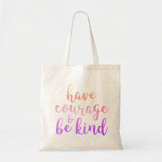 Bolsa Tote Tenha a coragem & seja miúdos amáveis do roxo do
