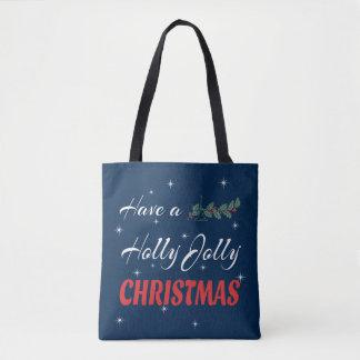 Bolsa Tote Tenha um Natal alegre do azevinho