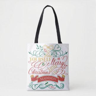 Bolsa Tote Tenha você mesmo um alegre pouca tipografia do