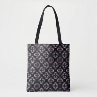 Bolsa Tote Teste padrão abstrato do rosa e do azul no preto