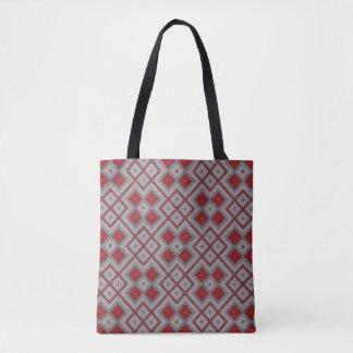 Bolsa Tote Teste padrão abstrato geométrico vermelho e