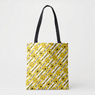 Bolsa Tote Teste padrão amarelo das listras do Sr. Feliz  